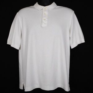Lands End Polo Shirt Mens M White Short Sleeve New